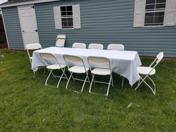 White table cloth 8 ft table ($3.00 off with Bounce/Slide Rental)