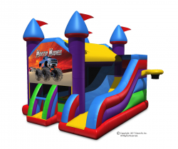 Monster Truck Wacky 5-in-1 Combo Castle Bouncer & Slide-Large