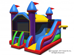 Multi-colored 5-in-1 Wacky 5-in-1 Combo Castle Bouncer & Slide-Large