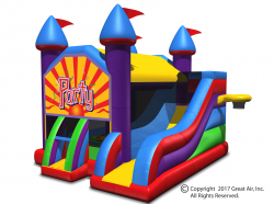 Party Theme Wacky 5-in-1 Combo Castle Bouncer & Slide-Large